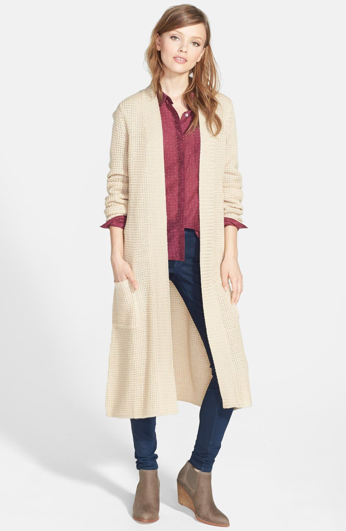 Open Front Duster,                         Main,                         color, Tan