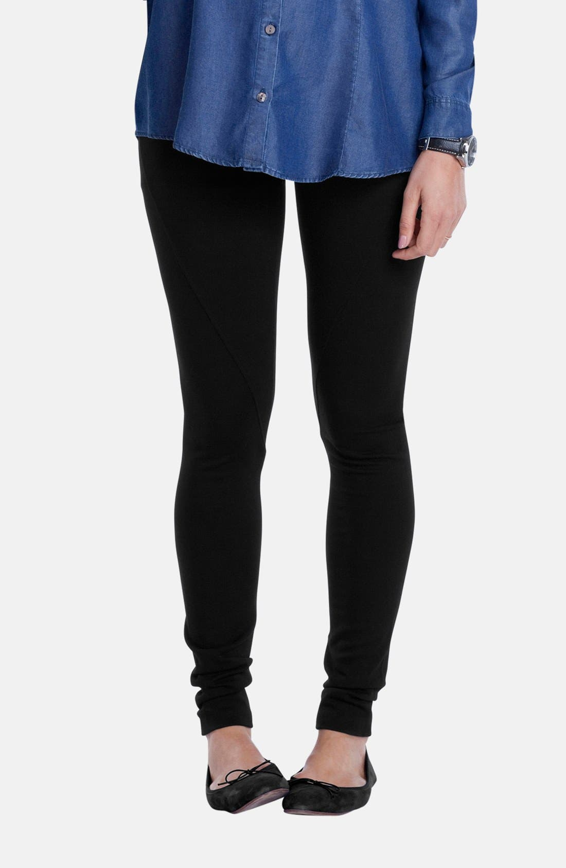 'Essential' Maternity Leggings,                             Main thumbnail 1, color,                             Caviar Black
