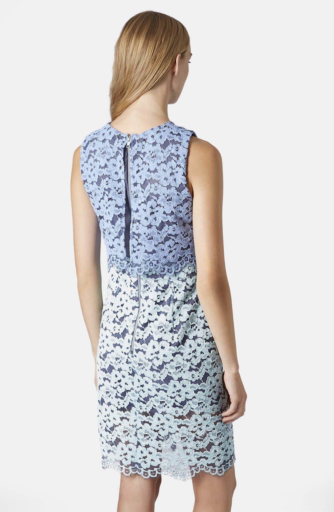 Alternate Image 2  - Topshop Two Tone Lace Midi Dress