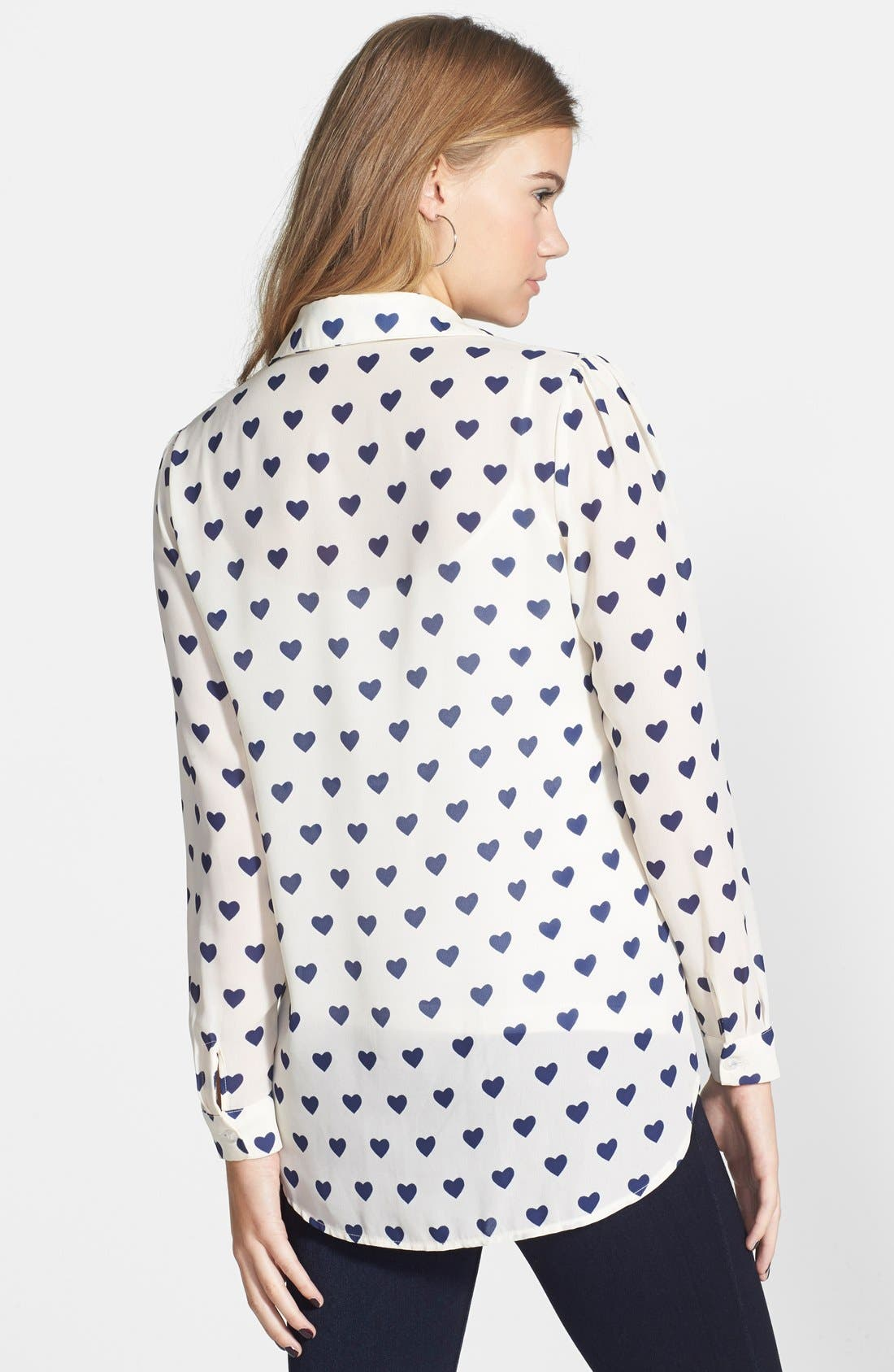 Heart Button Front Shirt,                             Alternate thumbnail 2, color,                             Ivory/ Royal