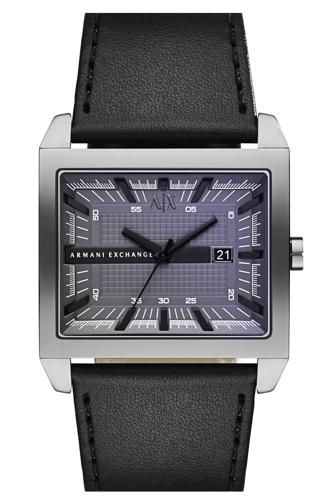 Rectangular Leather Strap Watch, 43mm x 36mm,                             Main thumbnail 1, color,                             Black/ Gunmetal
