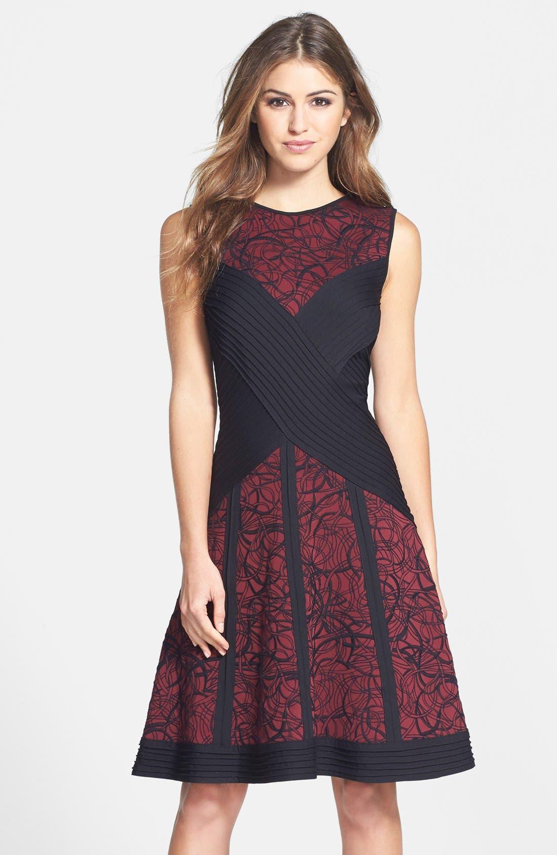 Main Image - Tadashi Shoji Pintuck Embroidered Neoprene Fit & Flare Dress