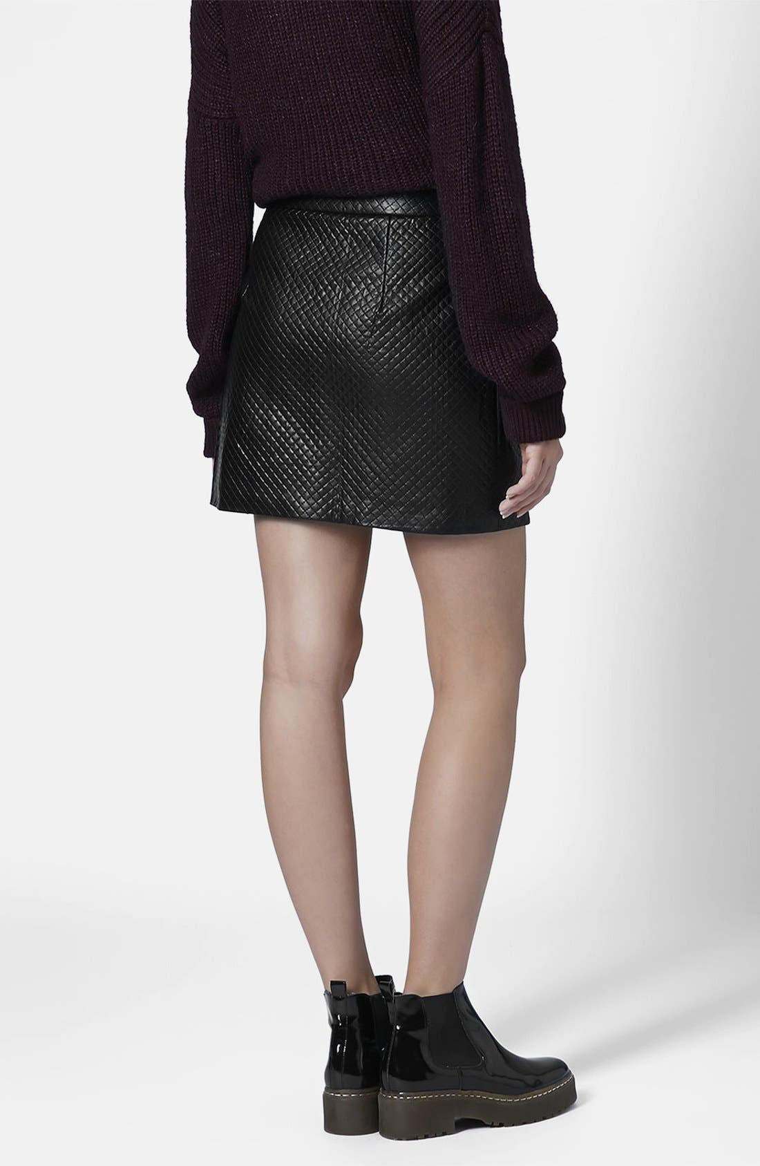 Alternate Image 2  - Topshop Faux Leather A-Line Skirt