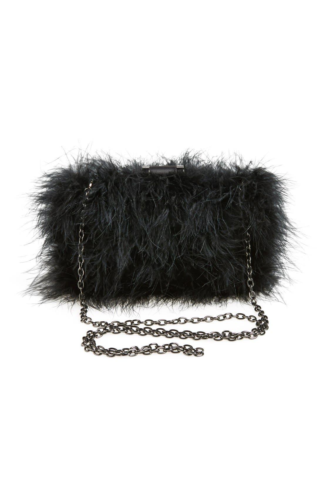 Alternate Image 4  - Sondra Roberts 'Furry Monster' Feather Clutch