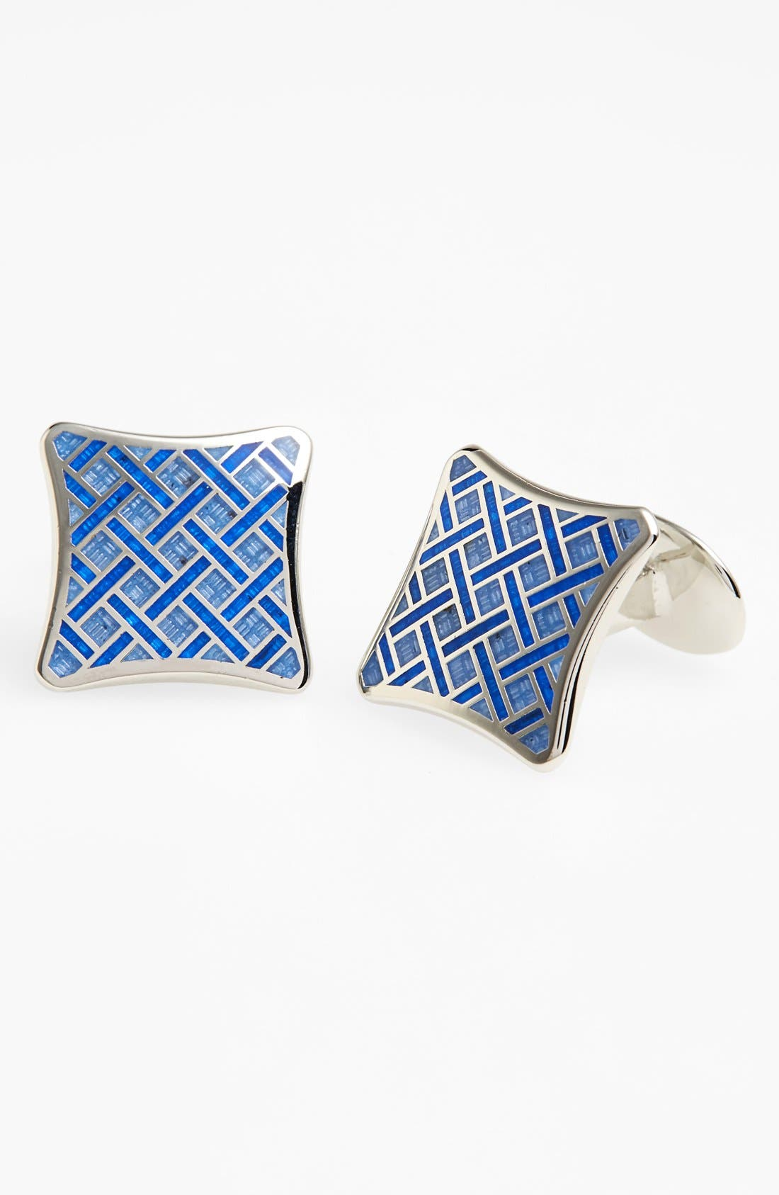 Basketweave Cuff Links,                         Main,                         color, Silver/ Light Blue/ Blue