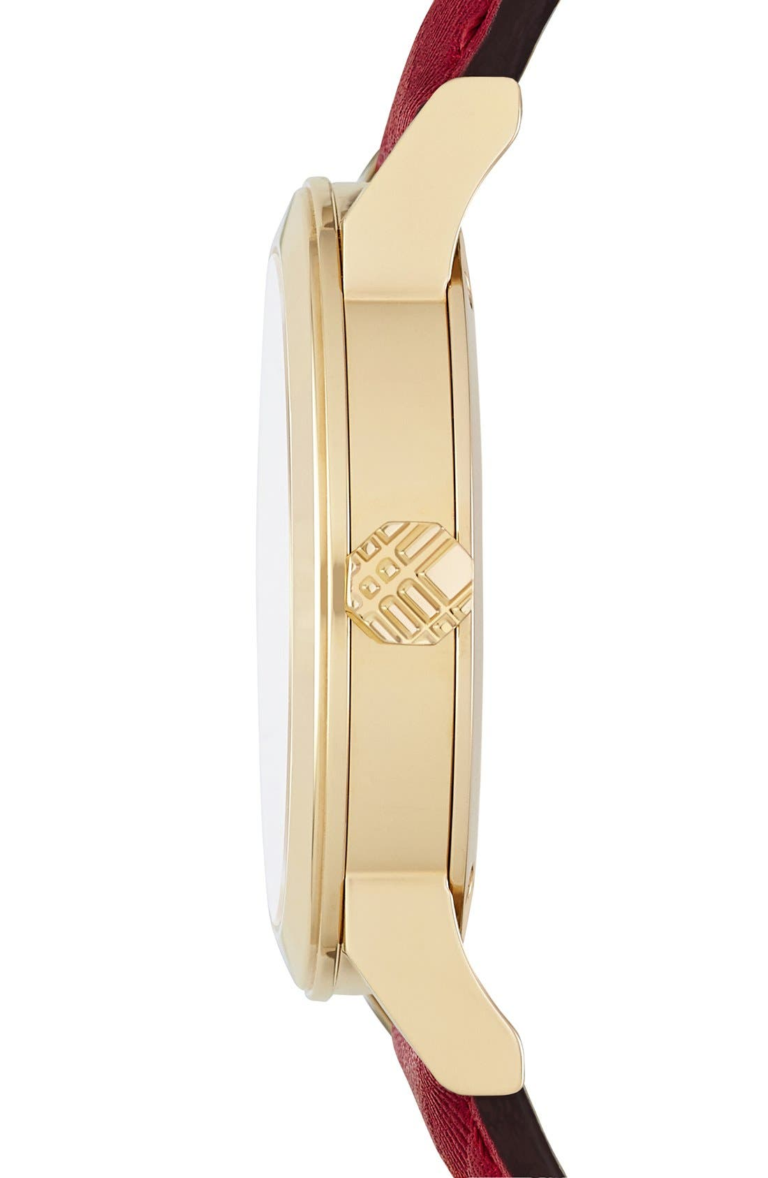 Alternate Image 4  - Burberry 'New Classic' Diamond Index Leather Strap Watch, 34mm