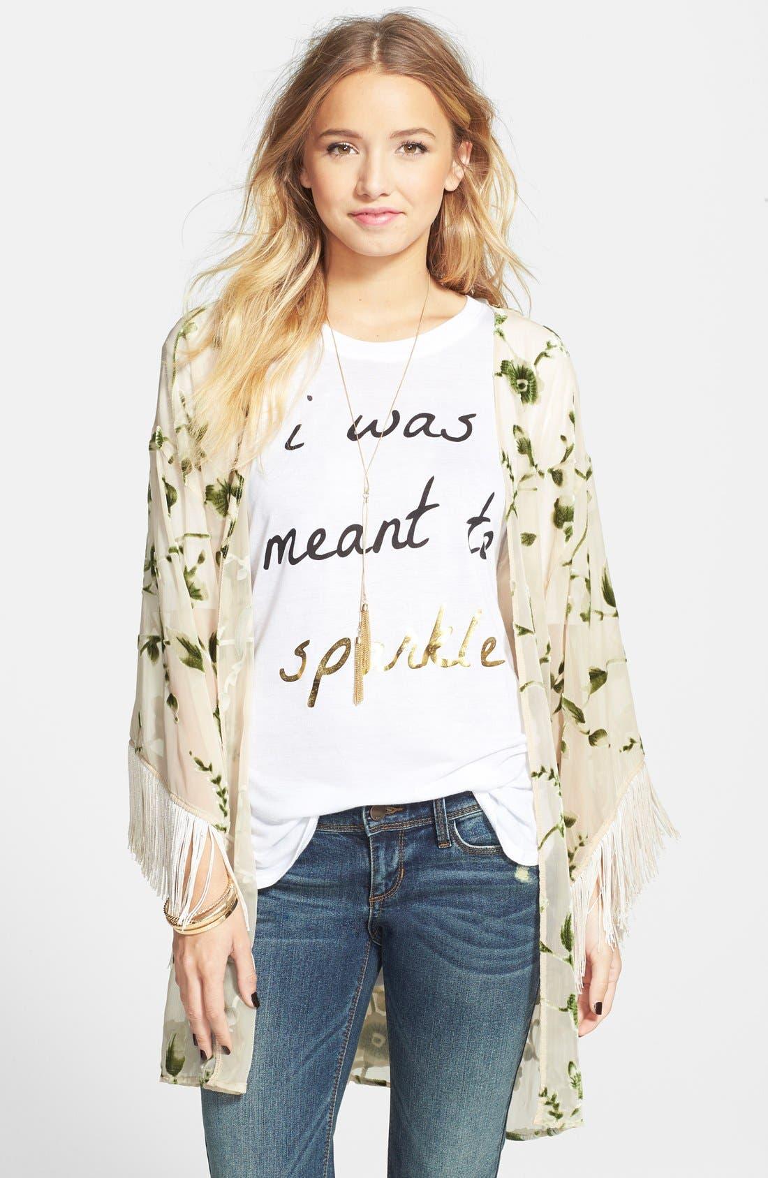 Main Image - Lily White Velvet Detail Fringe Kimono Jacket (Juniors)