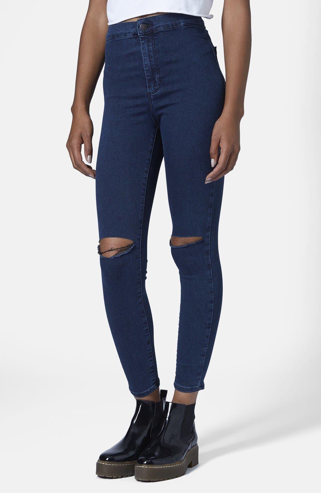 Main Image - Topshop Moto 'Joni' Ripped High Rise Skinny Jeans (Blue) (Petite)