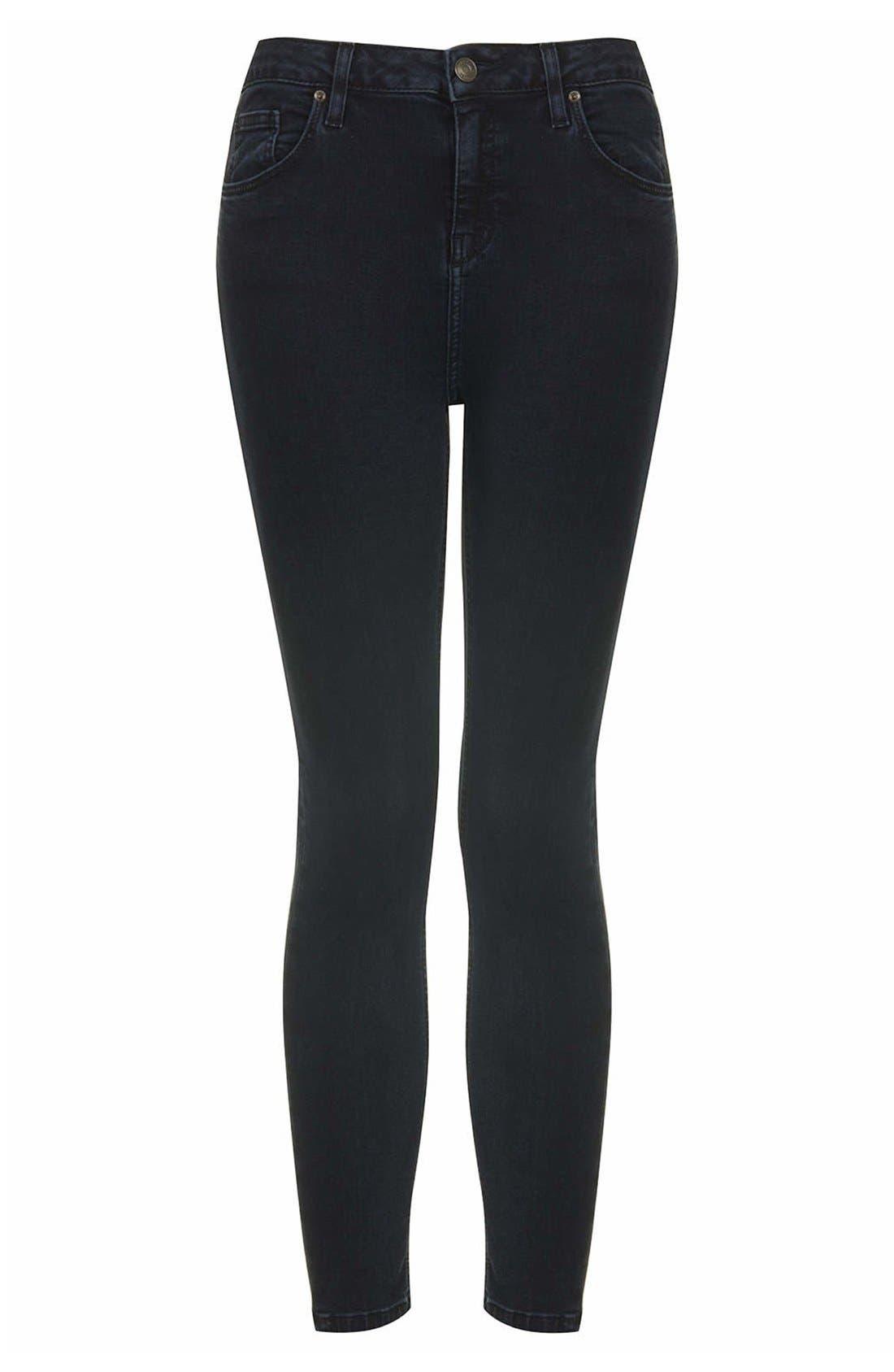 Alternate Image 3  - Topshop Moto 'Jamie' High Rise Ankle Skinny Jeans (Blue Black) (Regular, Short & Long)