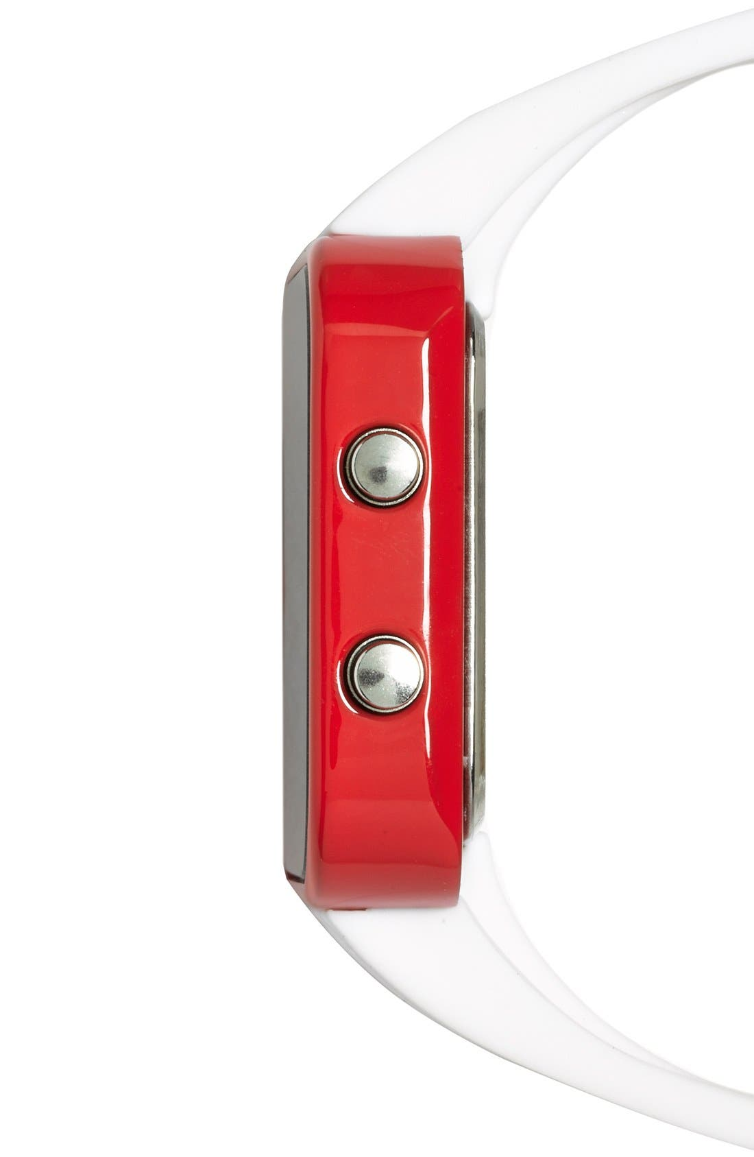Alternate Image 4  - 1:Face 'Red Cross' Square Digital Silicone Strap Watch, 38mm