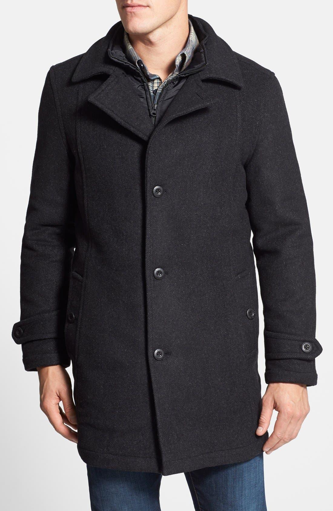 'Westown' 3-in-1 Wool Blend Coat,                         Main,                         color, Onyx