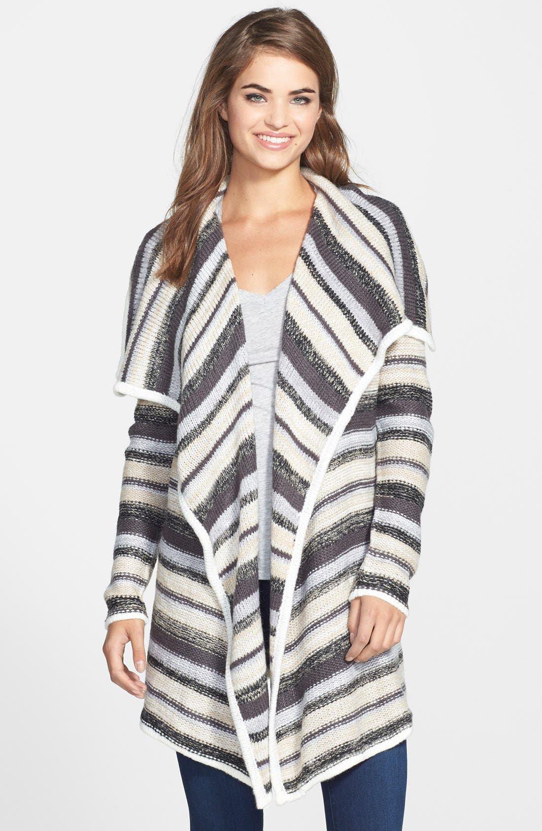 Alternate Image 1 Selected - kensie Stripe Knit Cardigan