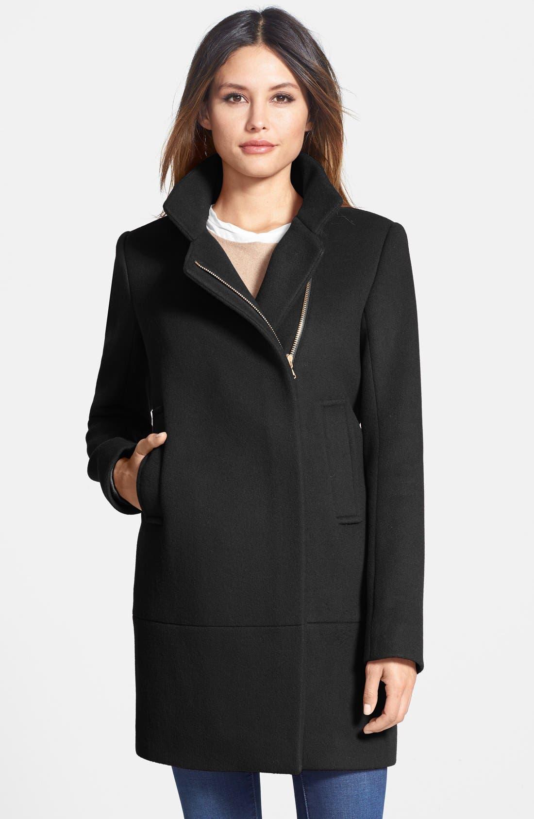 Main Image - Diane von Furstenberg 'Lauren' Asymmetrical Zip Wool Blend Coat