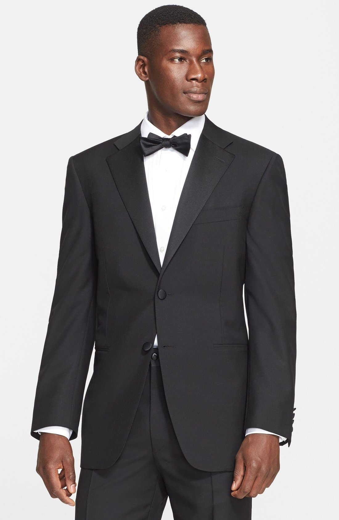 13000 Classic Fit Wool & Mohair Tuxedo,                             Alternate thumbnail 3, color,                             Black