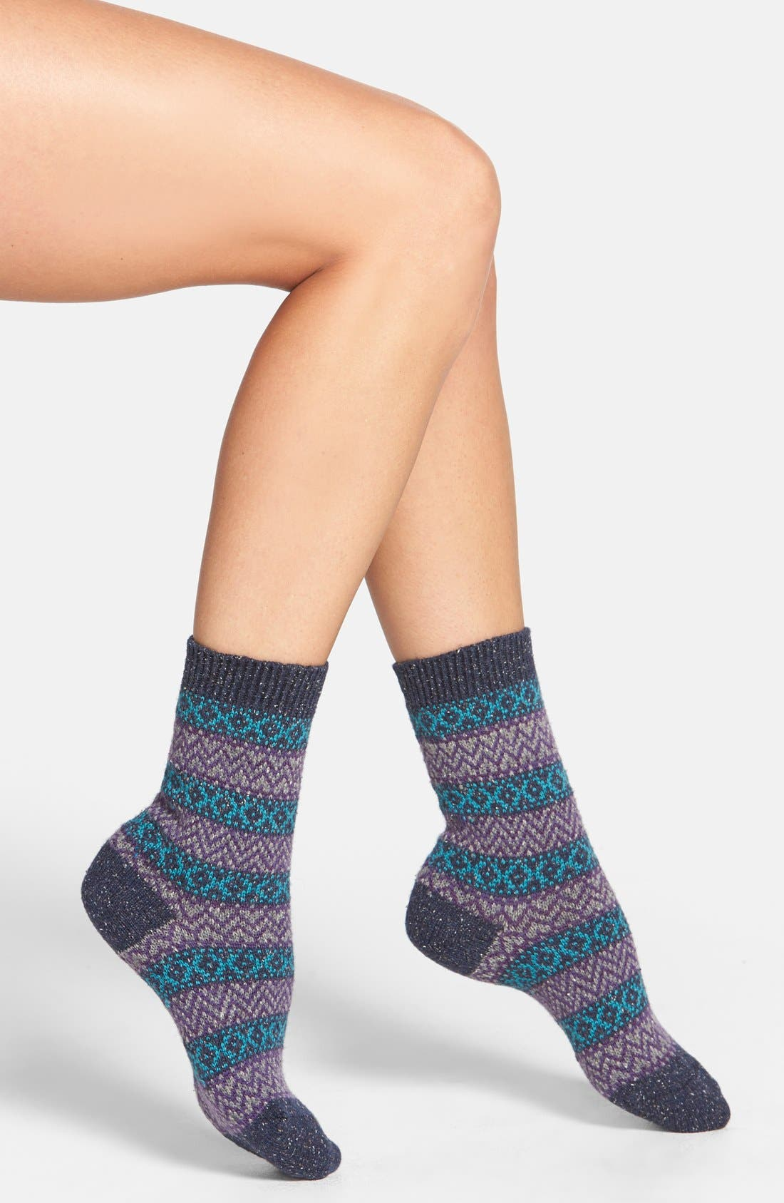 Scott-Nichol 'Rosedale Fair Isle' Wool Blend Socks,                         Main,                         color, Indigo