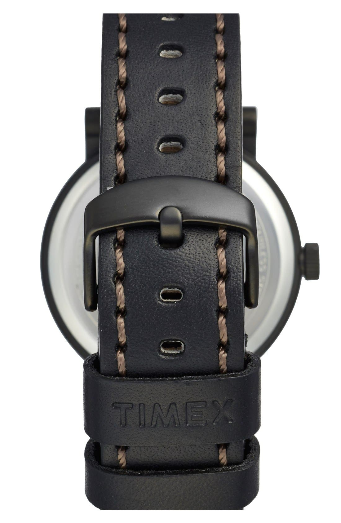 Alternate Image 2  - Timex® Waterbury Leather Strap Watch, 40mm