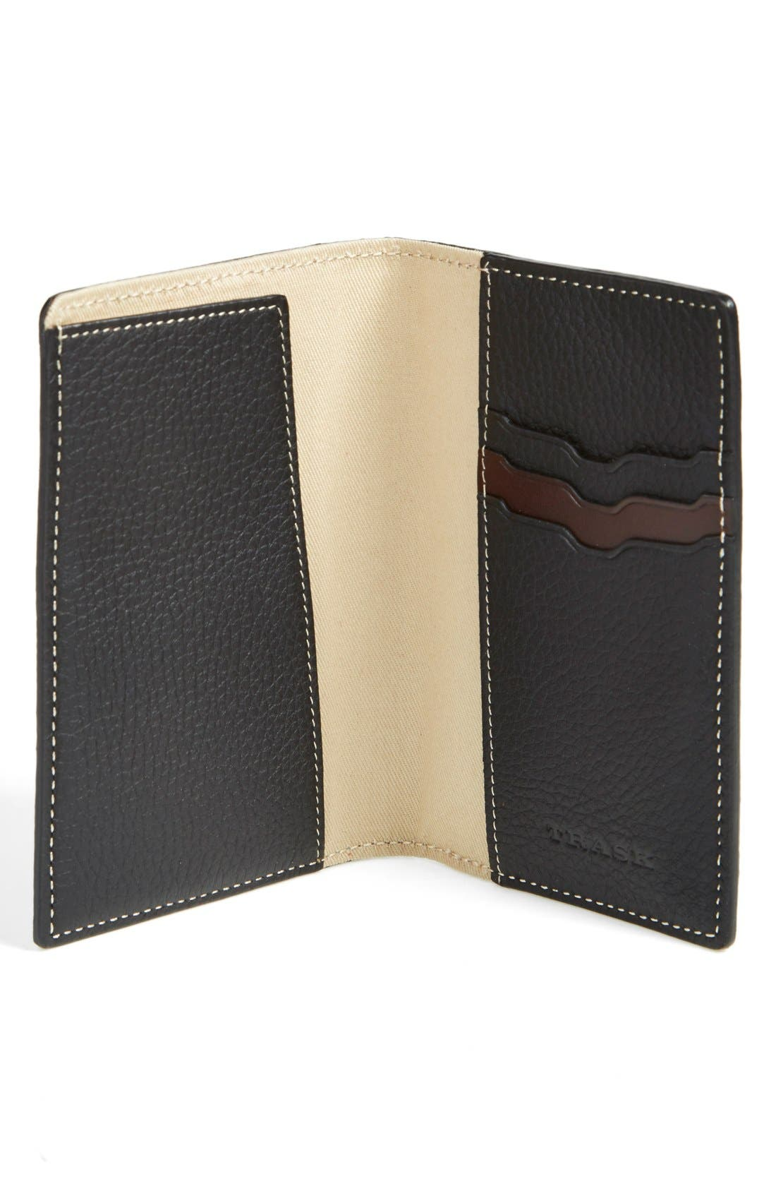 'Jackson' Norwegian Elk Leather Passport Holder,                             Alternate thumbnail 3, color,                             Black Norwegian Elk