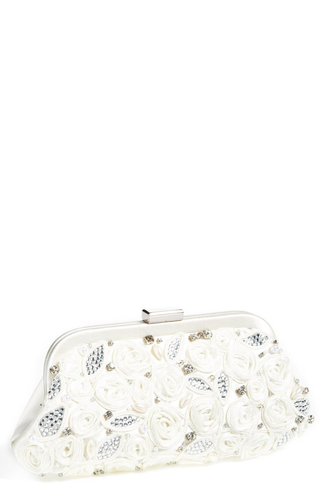 'Belen' Rosette Bridal Clutch,                         Main,                         color, Ivory