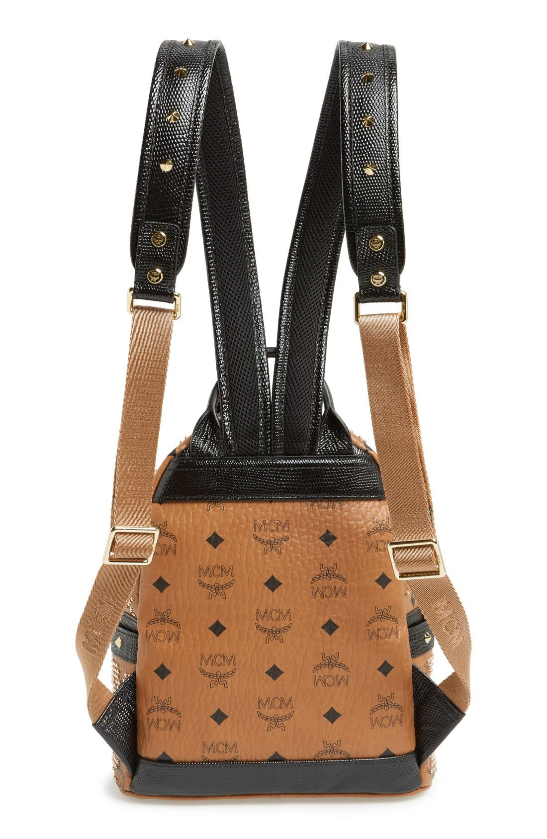 Alternate Image 4  - MCM 'Mini Visetos' Studded Logo Print Backpack