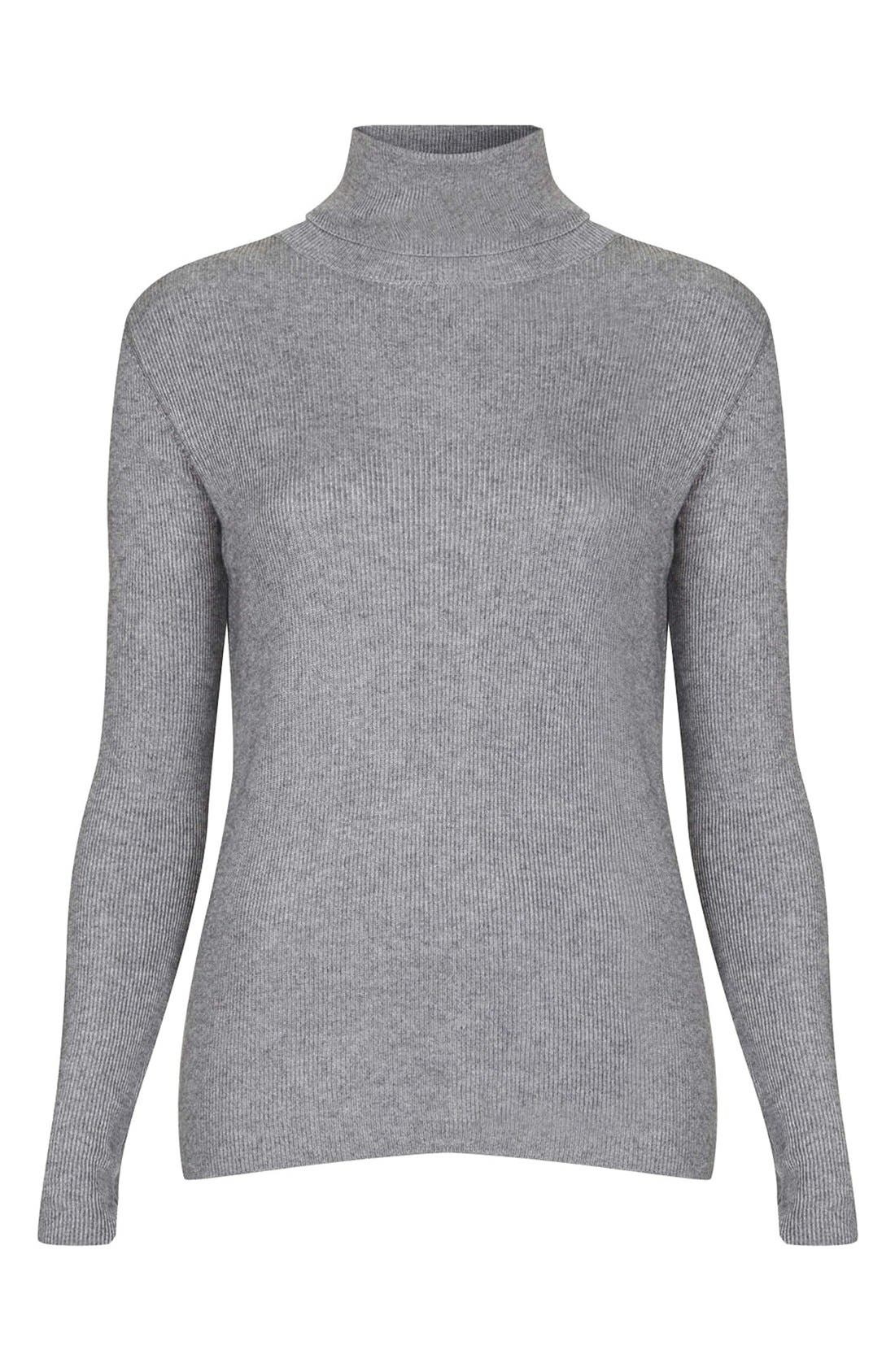 Main Image - Topshop Ribbed Turtleneck Sweater