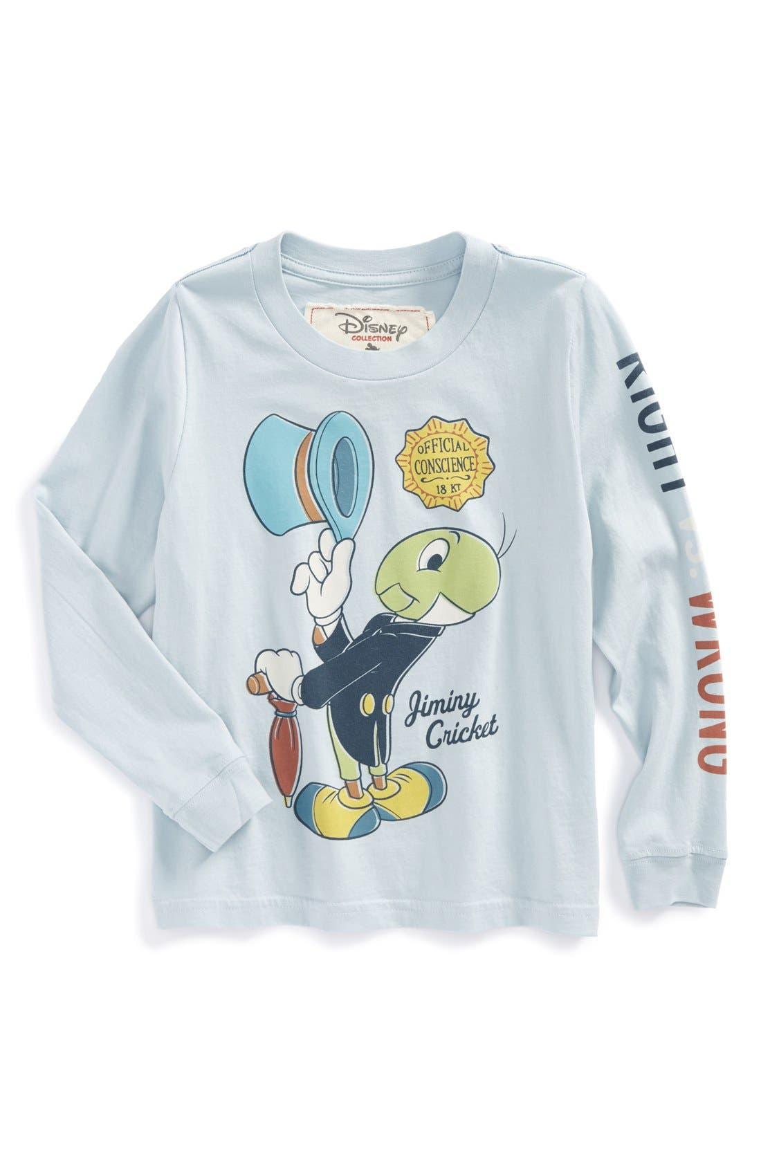 Alternate Image 1 Selected - Peek 'Disney - Jiminy Cricket' Graphic Long Sleeve T-Shirt (Toddler Boys, Little Boys & Big Boys)