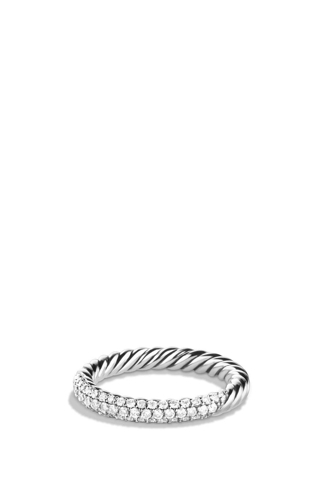 'Petite' Pavé Ring with Diamonds,                             Main thumbnail 1, color,                             Diamond