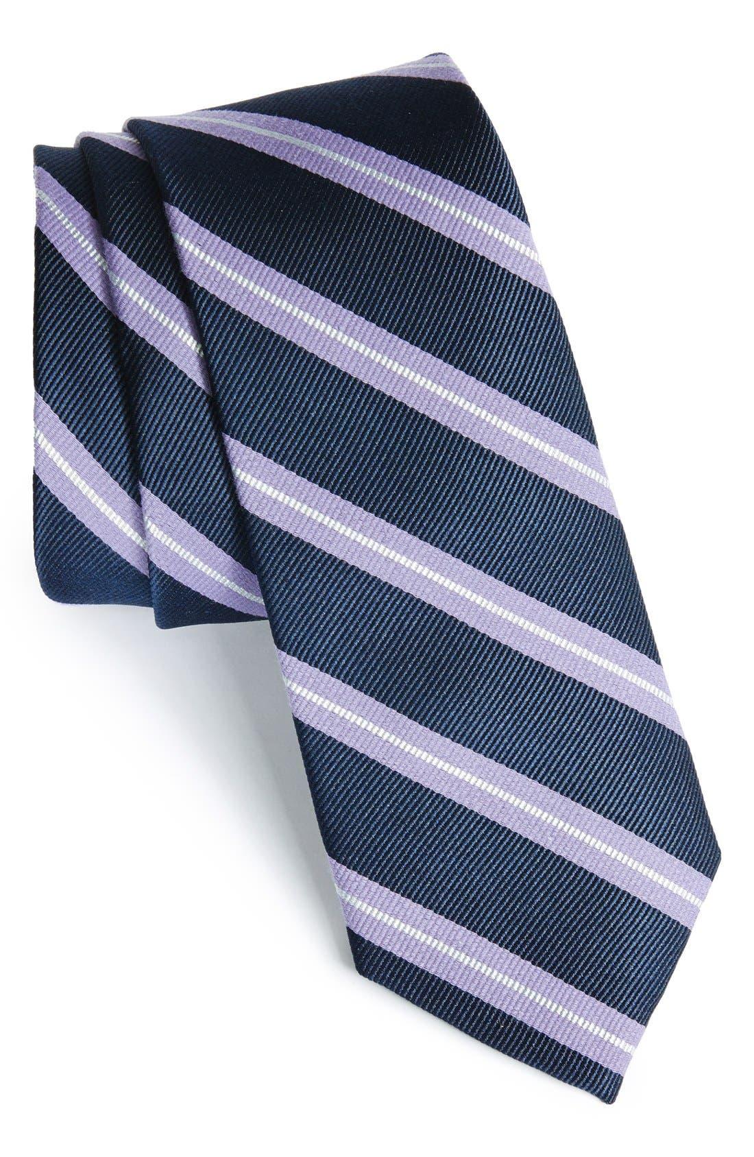 'Morrison Stripe' Woven Silk & Cotton Tie,                             Main thumbnail 1, color,                             Lilac