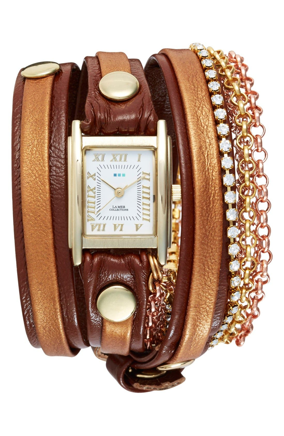 Main Image - La Mer Collections 'Diamond Crystal' Leather & Chain Wrap Watch
