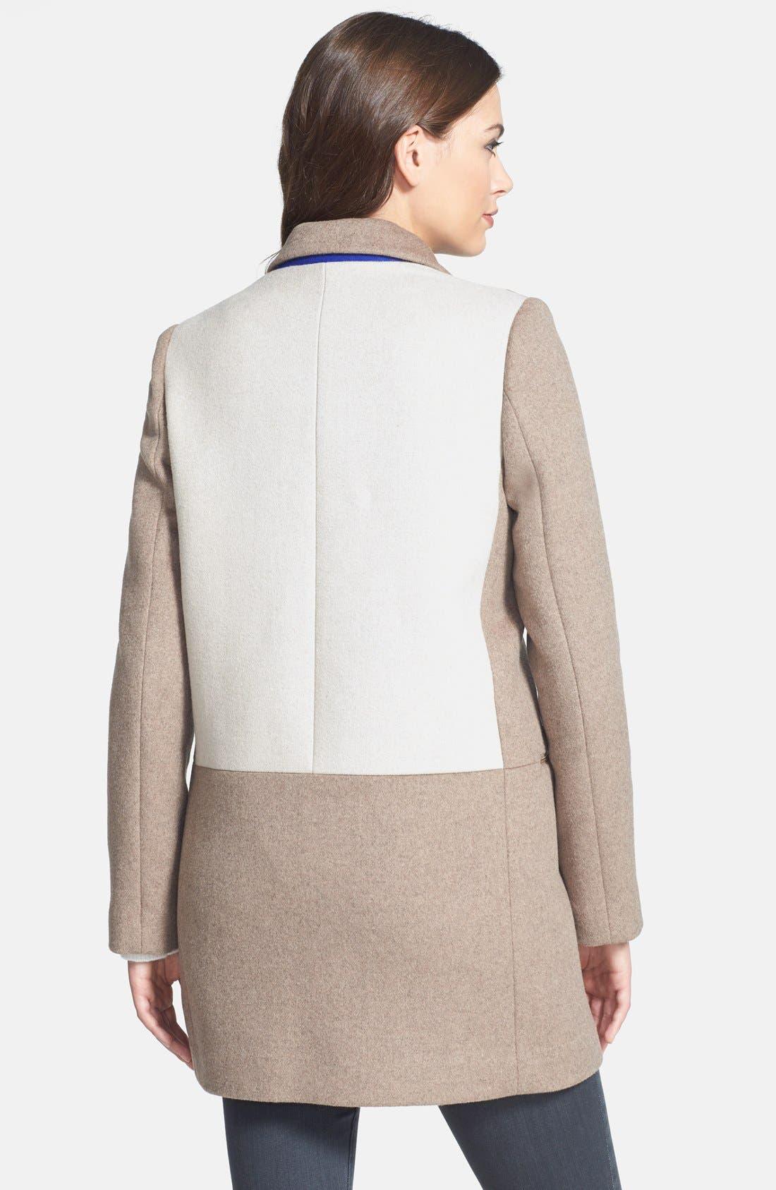 Alternate Image 2  - DL2 by Dawn Levy 'Lila' Colorblock Wool Blend Asymmetrical Coat