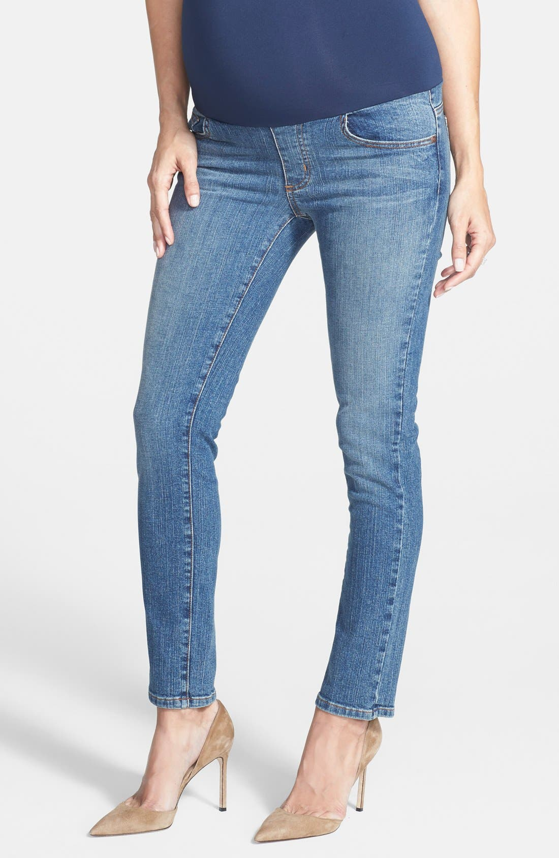 Maternity Skinny Ankle Jeans,                             Main thumbnail 1, color,                             Classic Wash