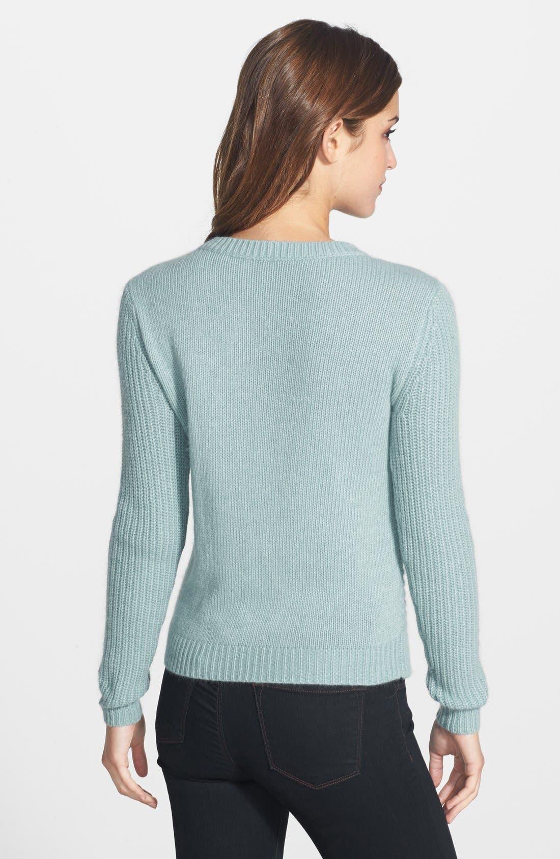Cable Knit Sweater,                             Alternate thumbnail 2, color,                             Blue Tourmaline