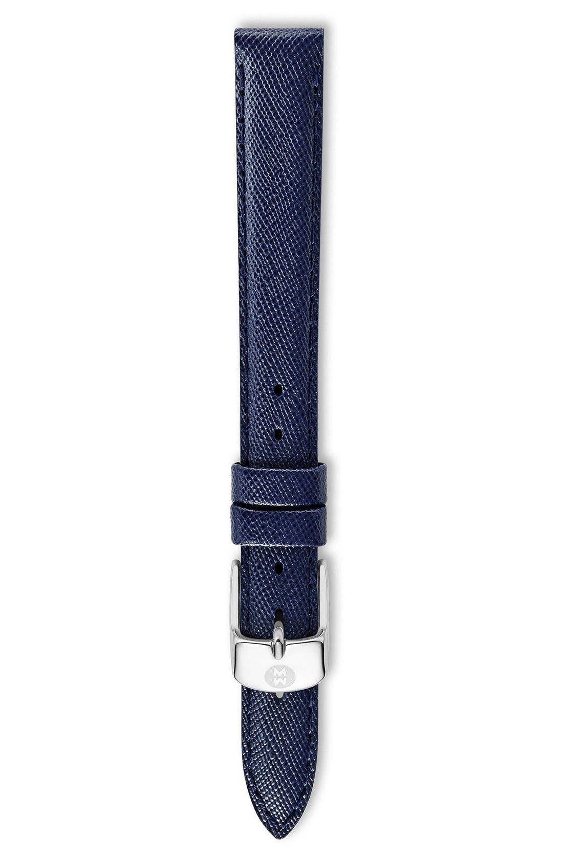 Alternate Image 1 Selected - MICHELE 12mm Saffiano Leather Watch Strap