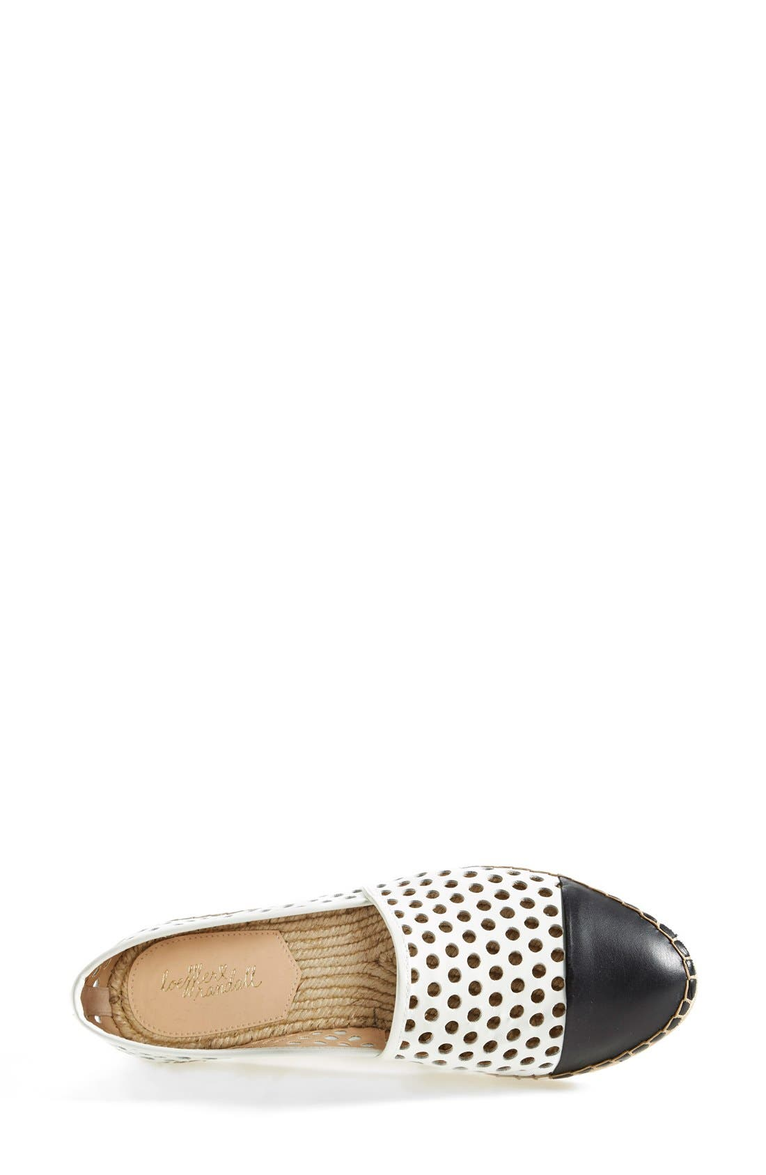 'Mara' Espadrille Flat,                             Alternate thumbnail 3, color,                             White/ Black