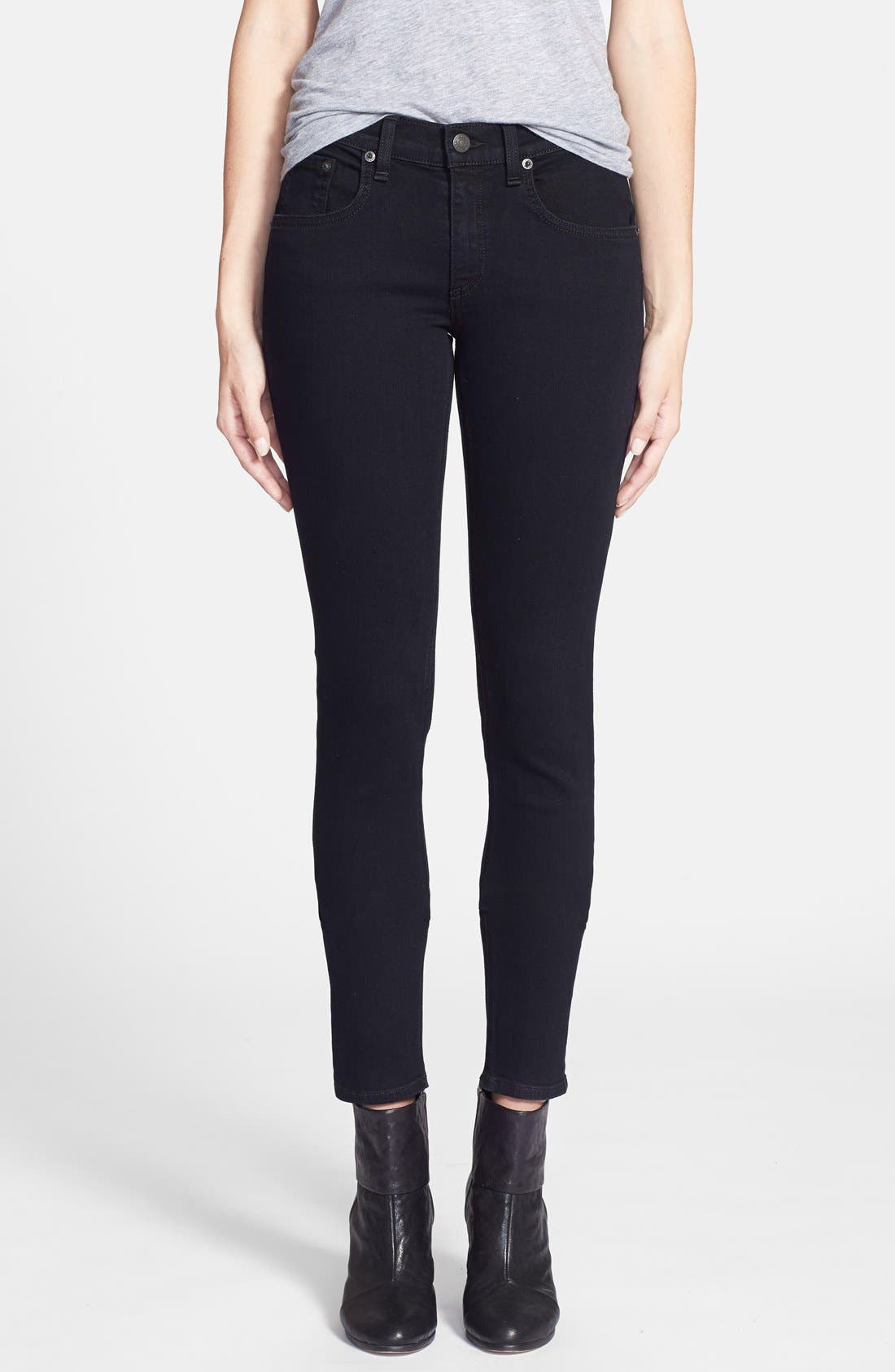 Alternate Image 1 Selected - rag & bone/JEAN 'The Skinny' Stretch Jeans (Coal)