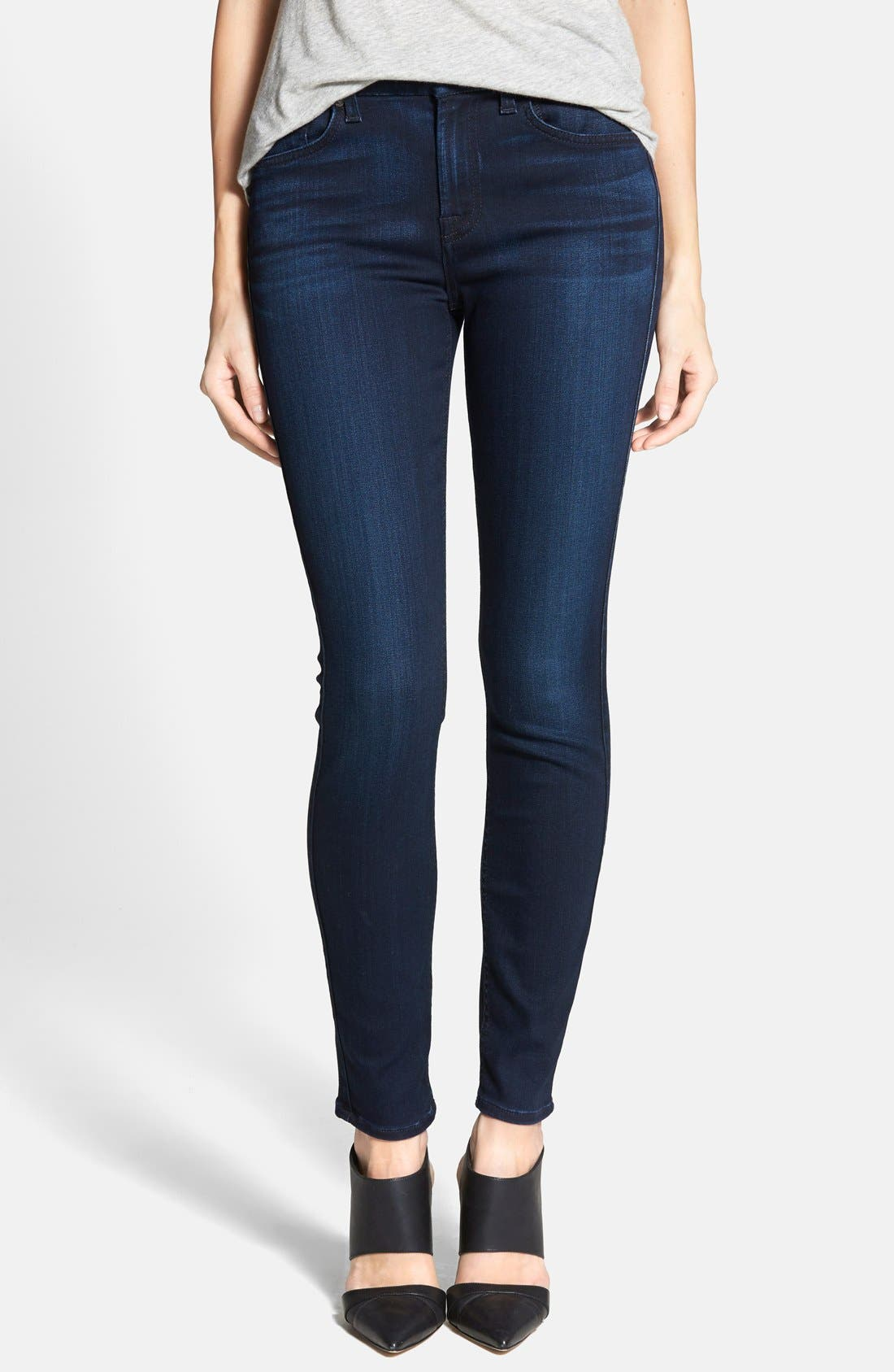 Alternate Image 1 Selected - 7 For All Mankind® 'The Ankle Skinny' Contour Jeans (Pristine Blue Black)
