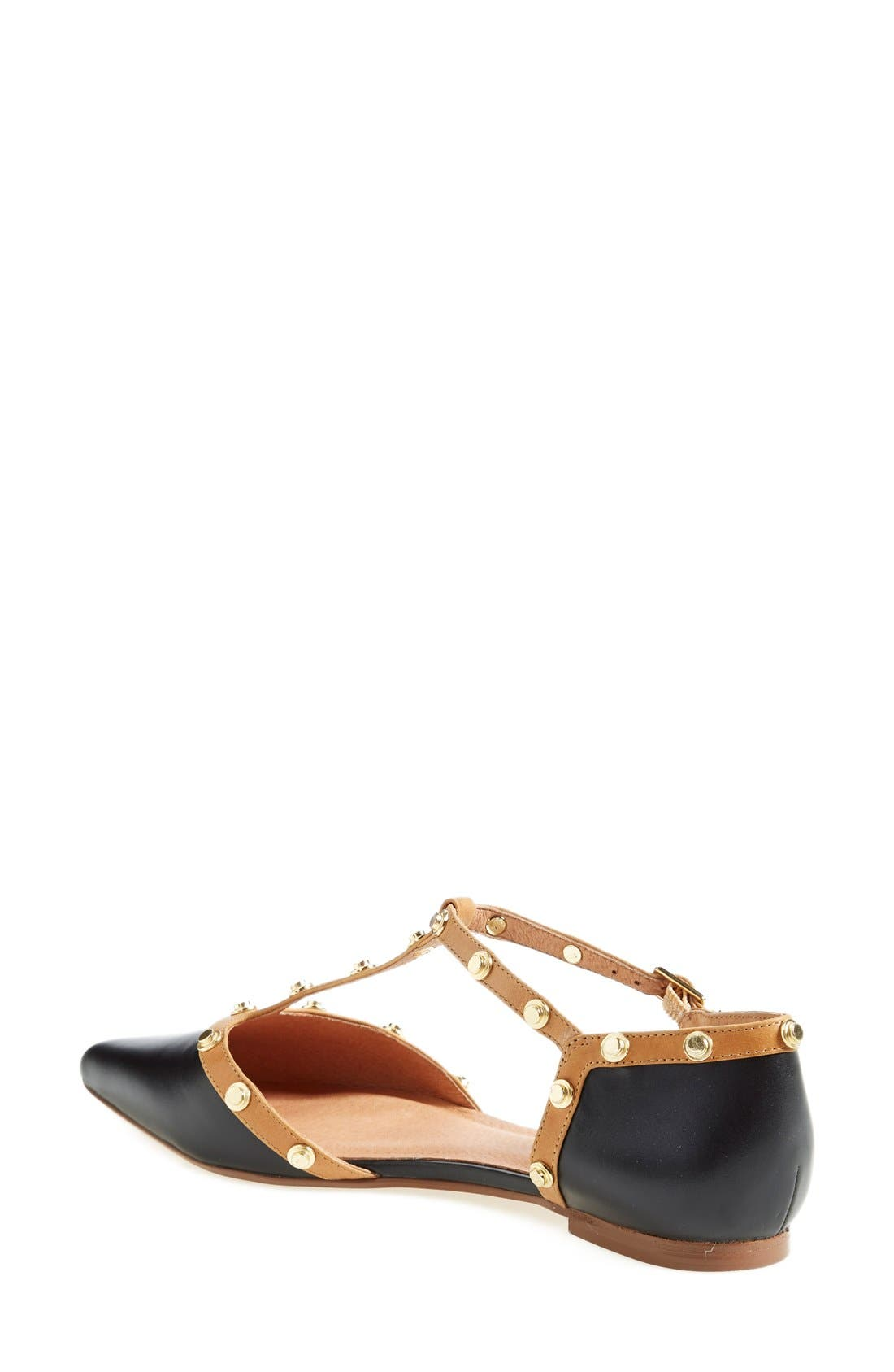 'Olson' Pointy Toe Studded T-Strap Flat,                             Alternate thumbnail 2, color,                             Black Leather