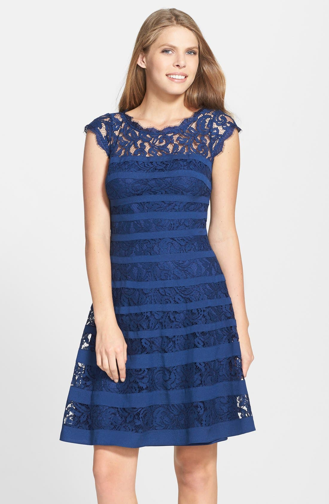 Main Image - Adrianna Papell Banded Lace Fit & Flare Dress