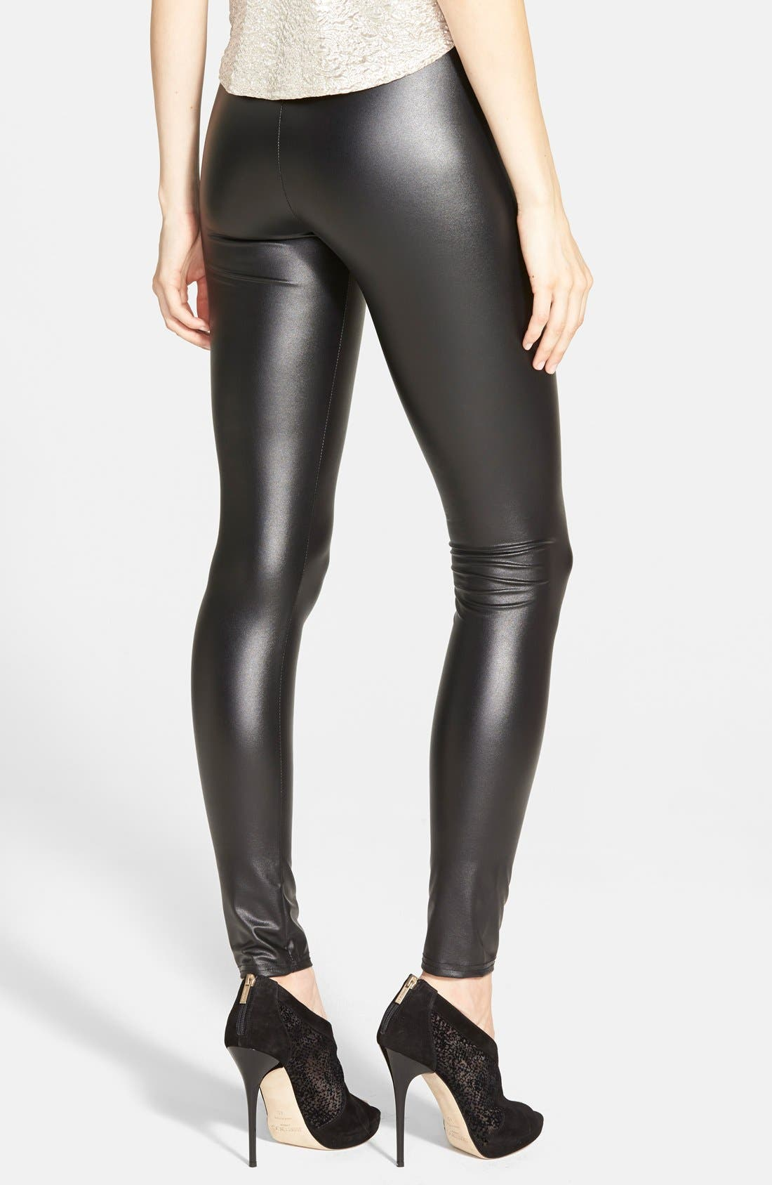 Alternate Image 2  - Topshop Textured Wet Look Leggings (Regular & Petite)