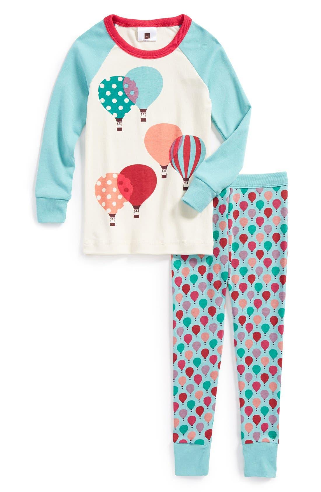 Main Image - Tea Collection 'Luftballons' Two-Piece Fitted Pajamas (Toddler Girls, Little Girls & Big Girls)