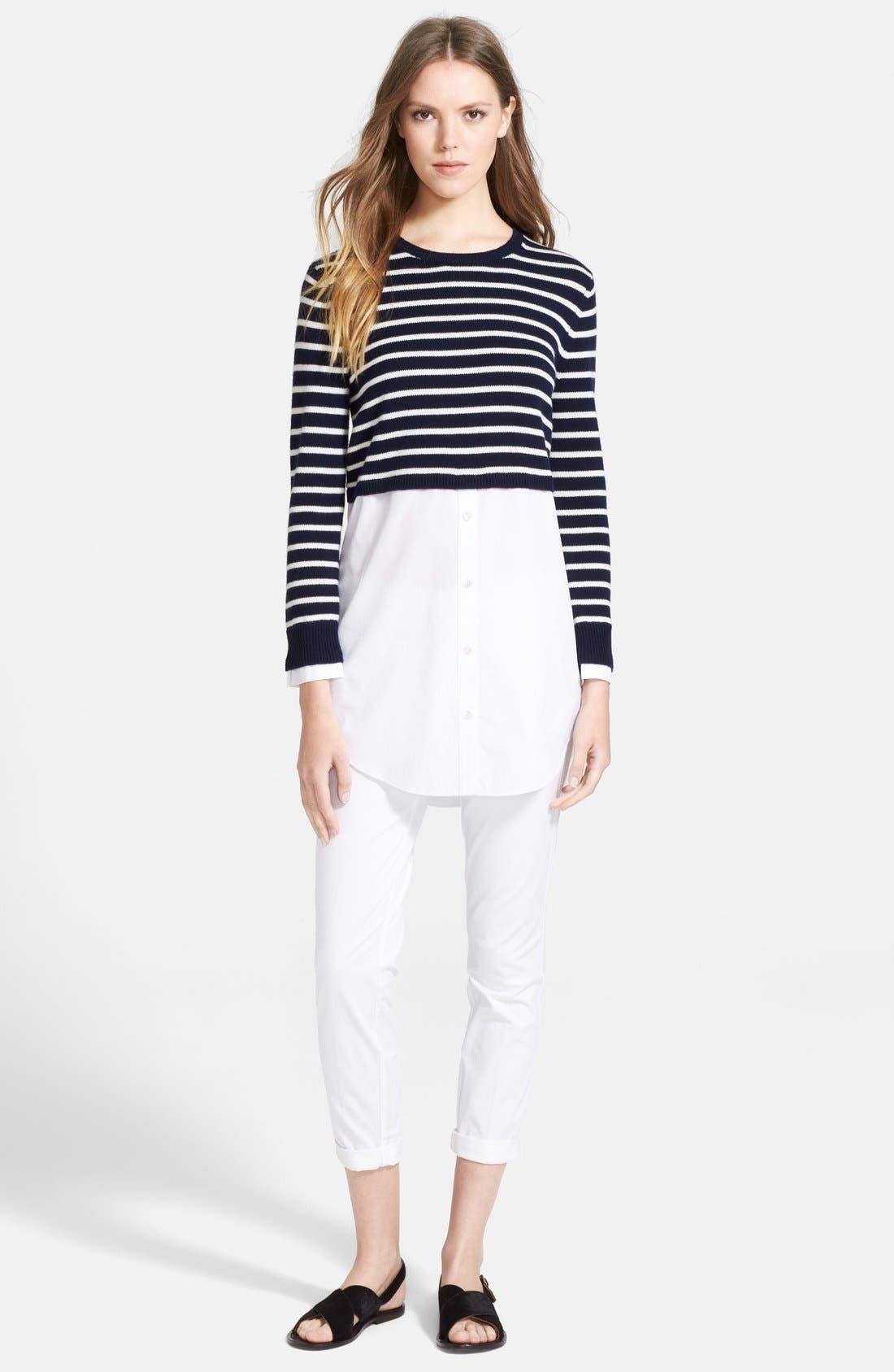 Alternate Image 3  - Theory 'Rymalia' Stripe Crop Cotton & Cashmere Sweater with Poplin Underlay