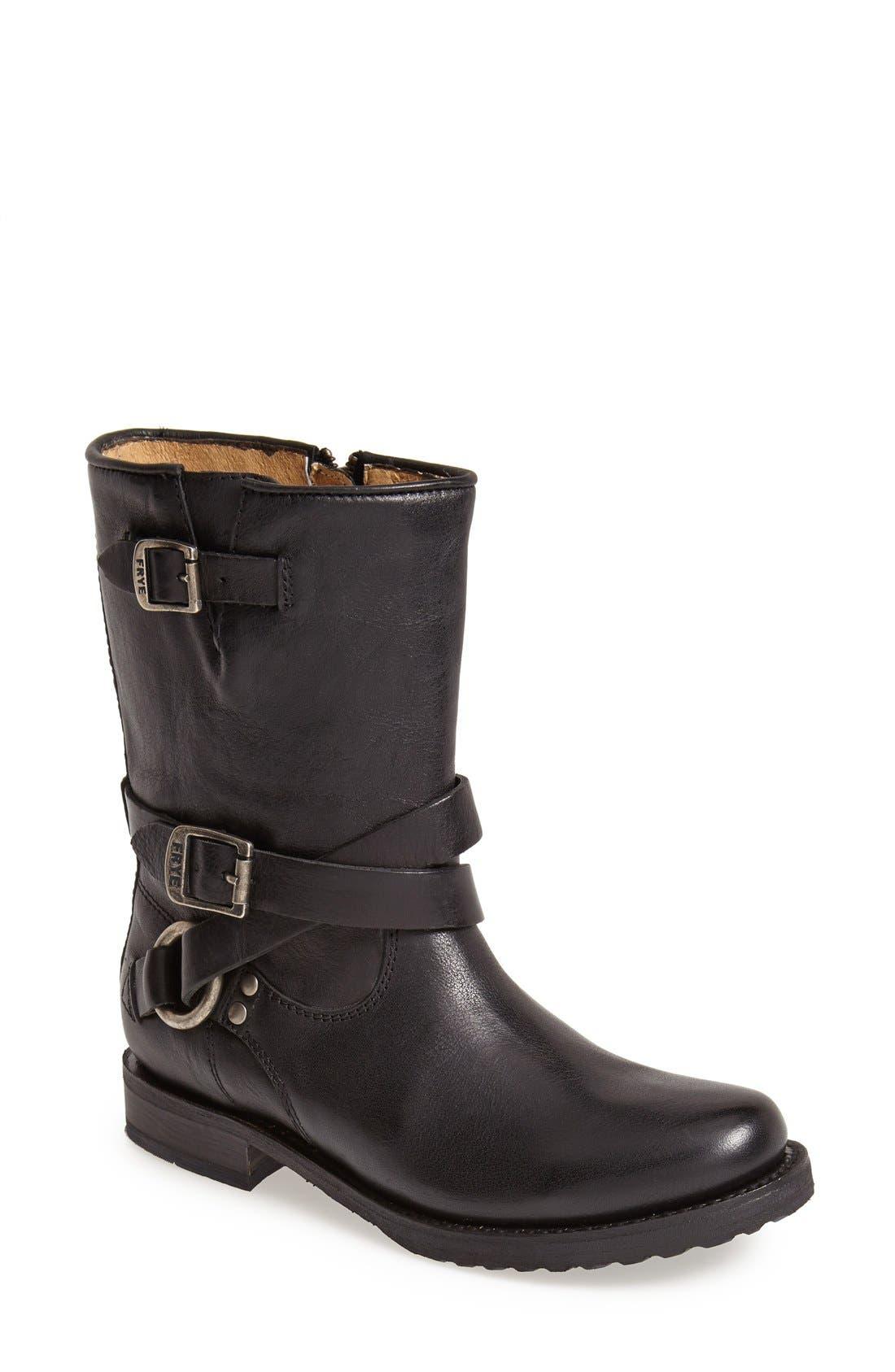 Main Image - Frye 'Veronica' Crisscross Strap Short Leather Boot (Women)