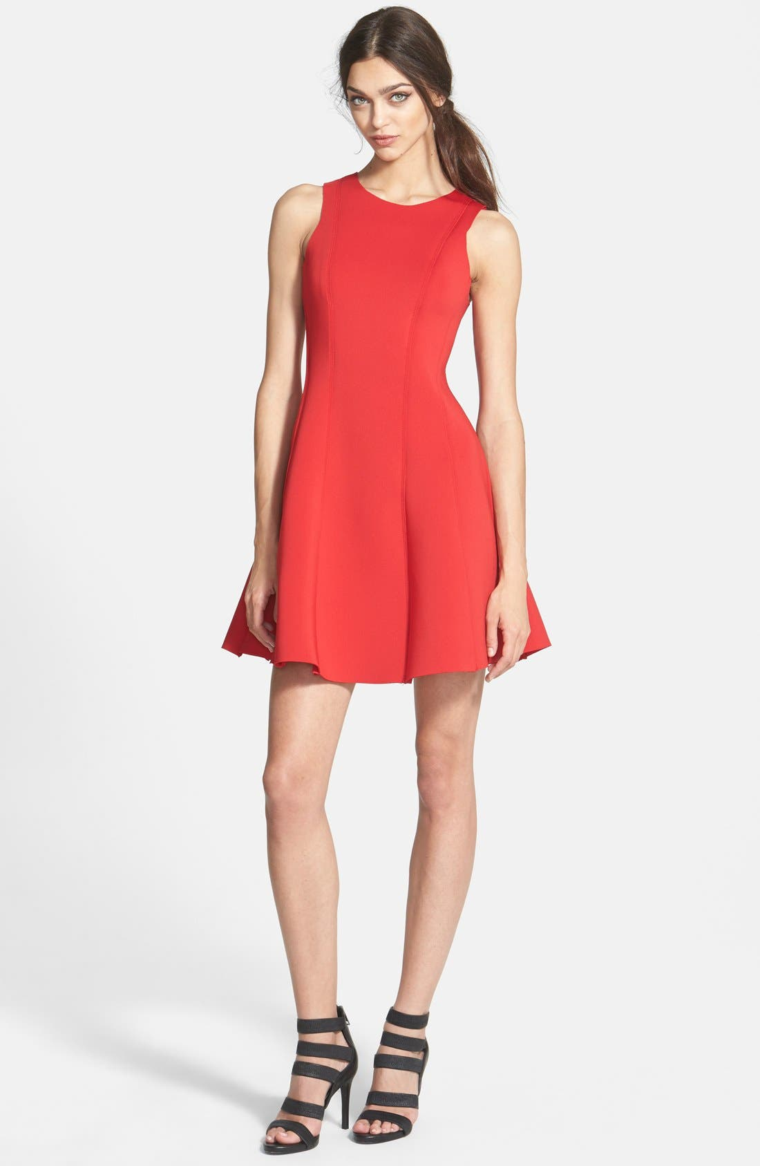 Sleeveless Scuba Fit & Flare Dress,                             Main thumbnail 1, color,                             Red