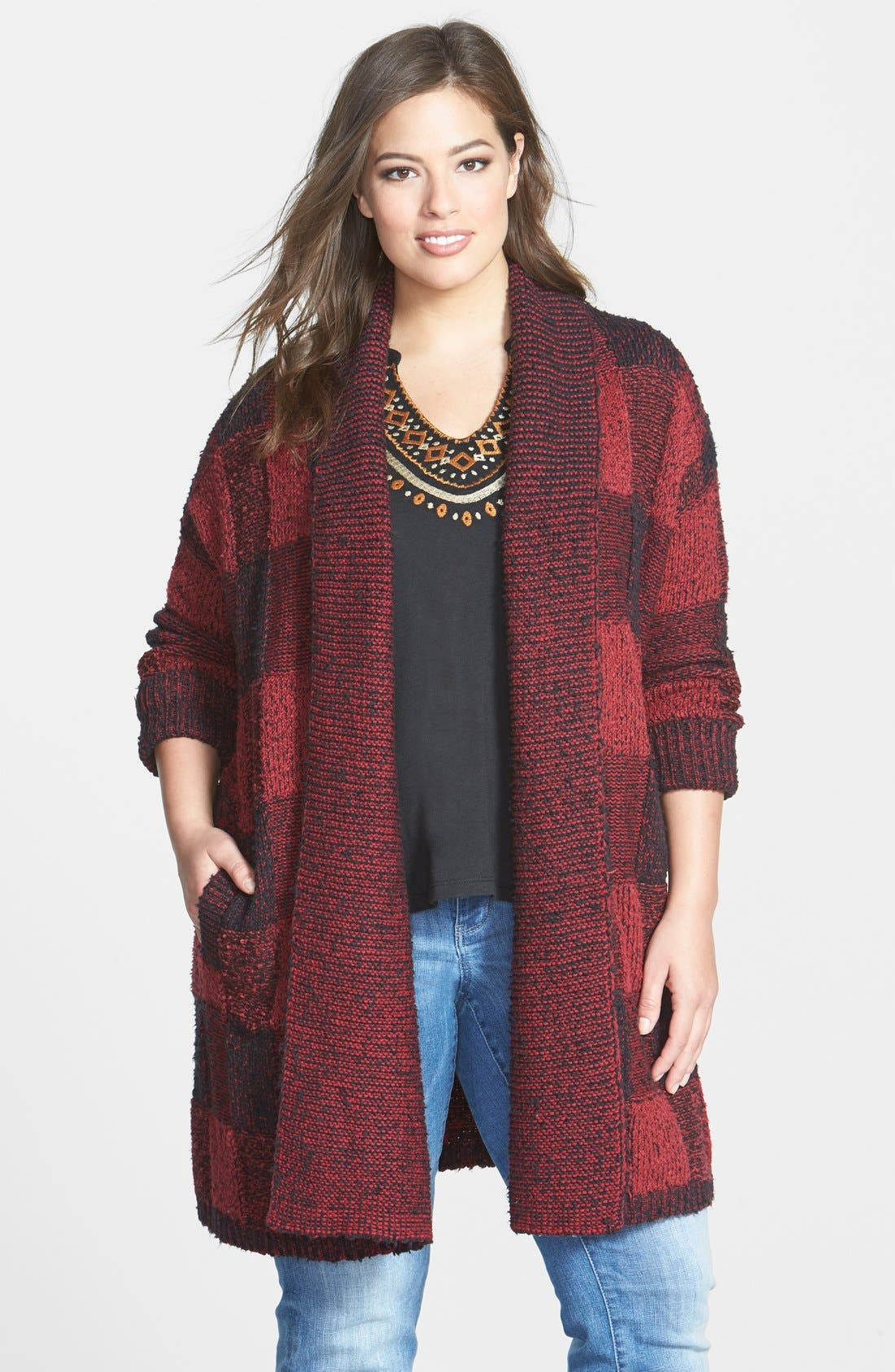 Long Plaid Bouclé Cardigan,                         Main,                         color, Red/ Black