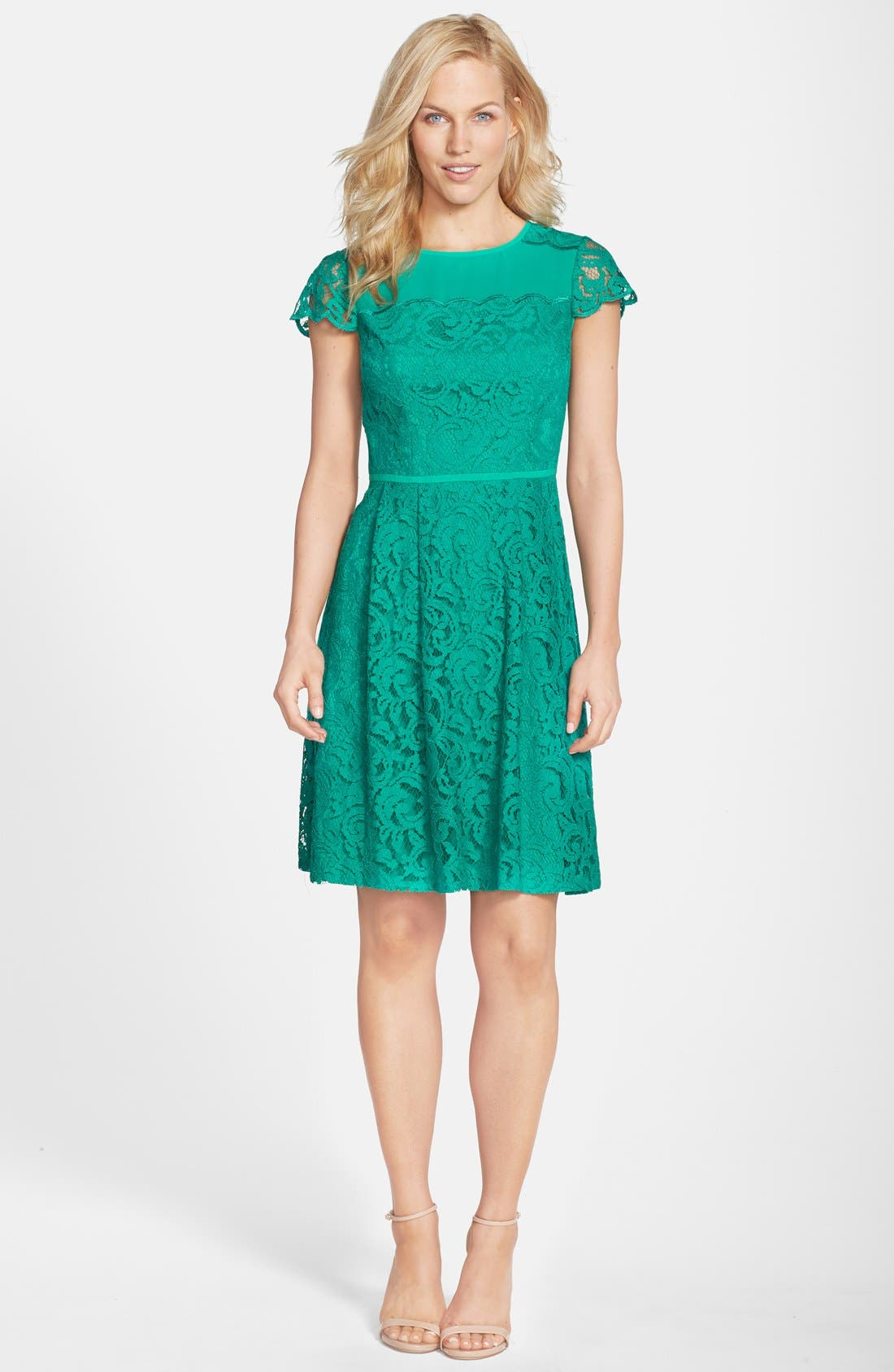 Alternate Image 3  - Adrianna Papell Cap Sleeve Lace Fit & Flare Dress