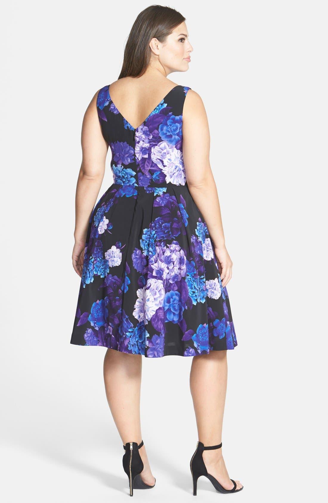 Alternate Image 2  - City Chic Hydrangea Print Dress (Plus Size)