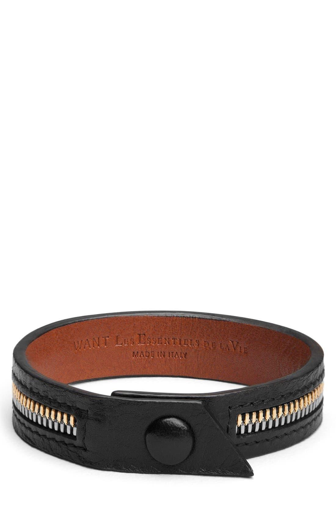 'Tambo' Zip Bracelet,                             Main thumbnail 1, color,                             Black/ Cognac