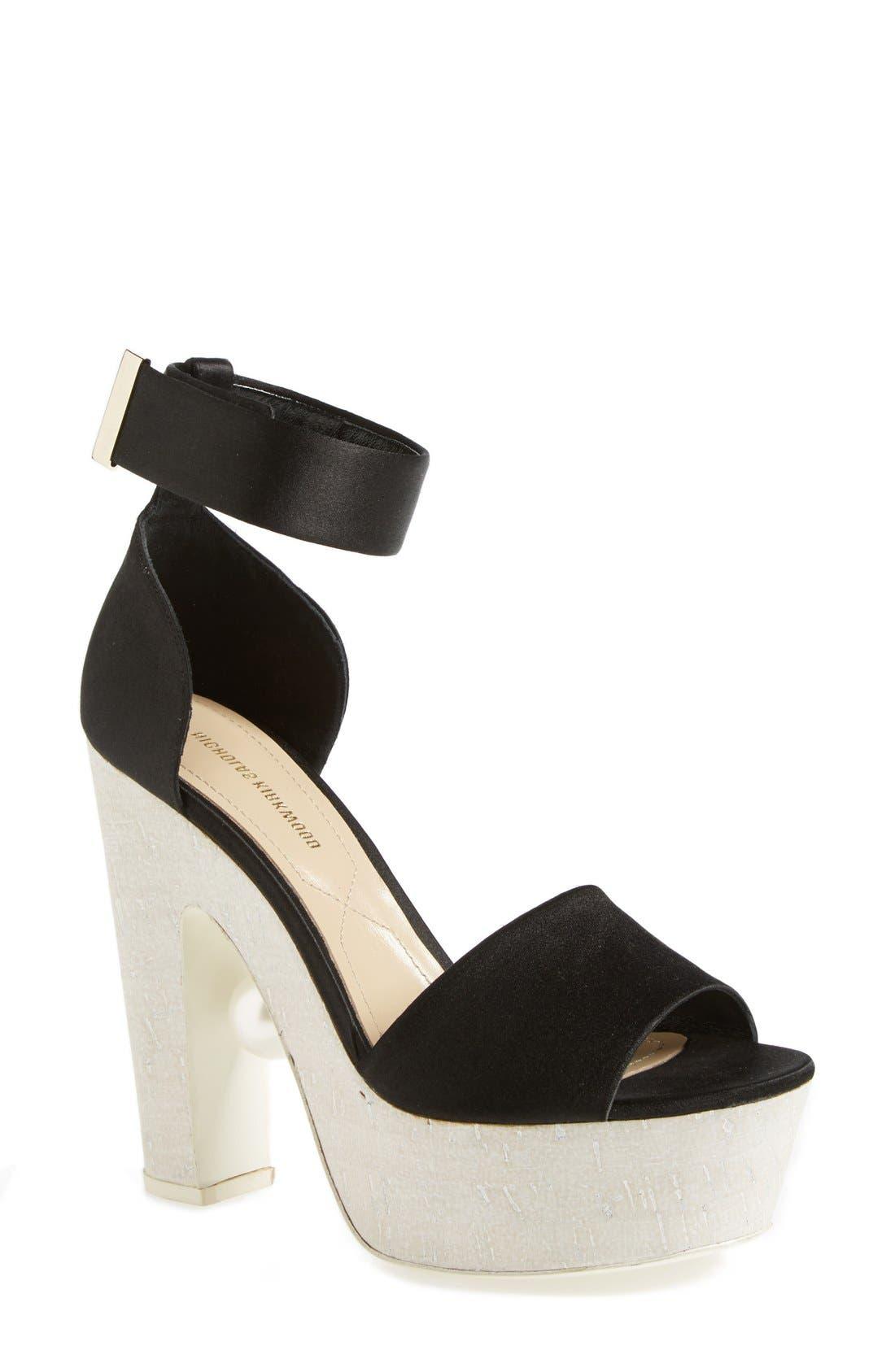 'Pearl' Platform Ankle Strap Sandal,                             Main thumbnail 1, color,                             Black