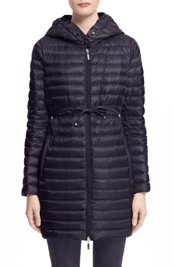 moncler flammette down coat with stowable hood