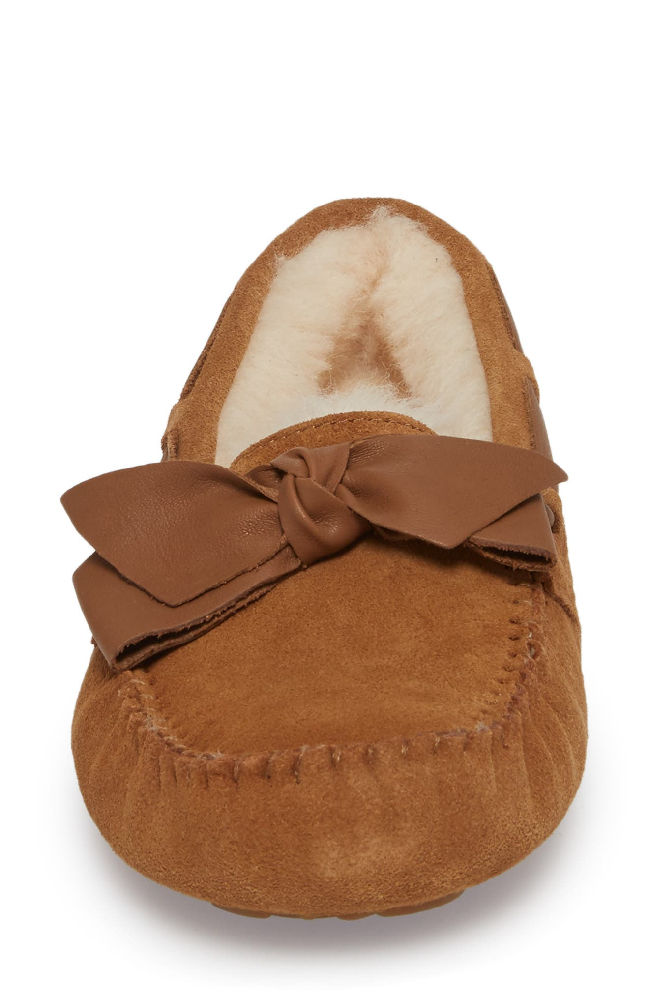 Dakota Bow Slipper,                             Alternate thumbnail 4, color,                             CHESTNUT SUEDE