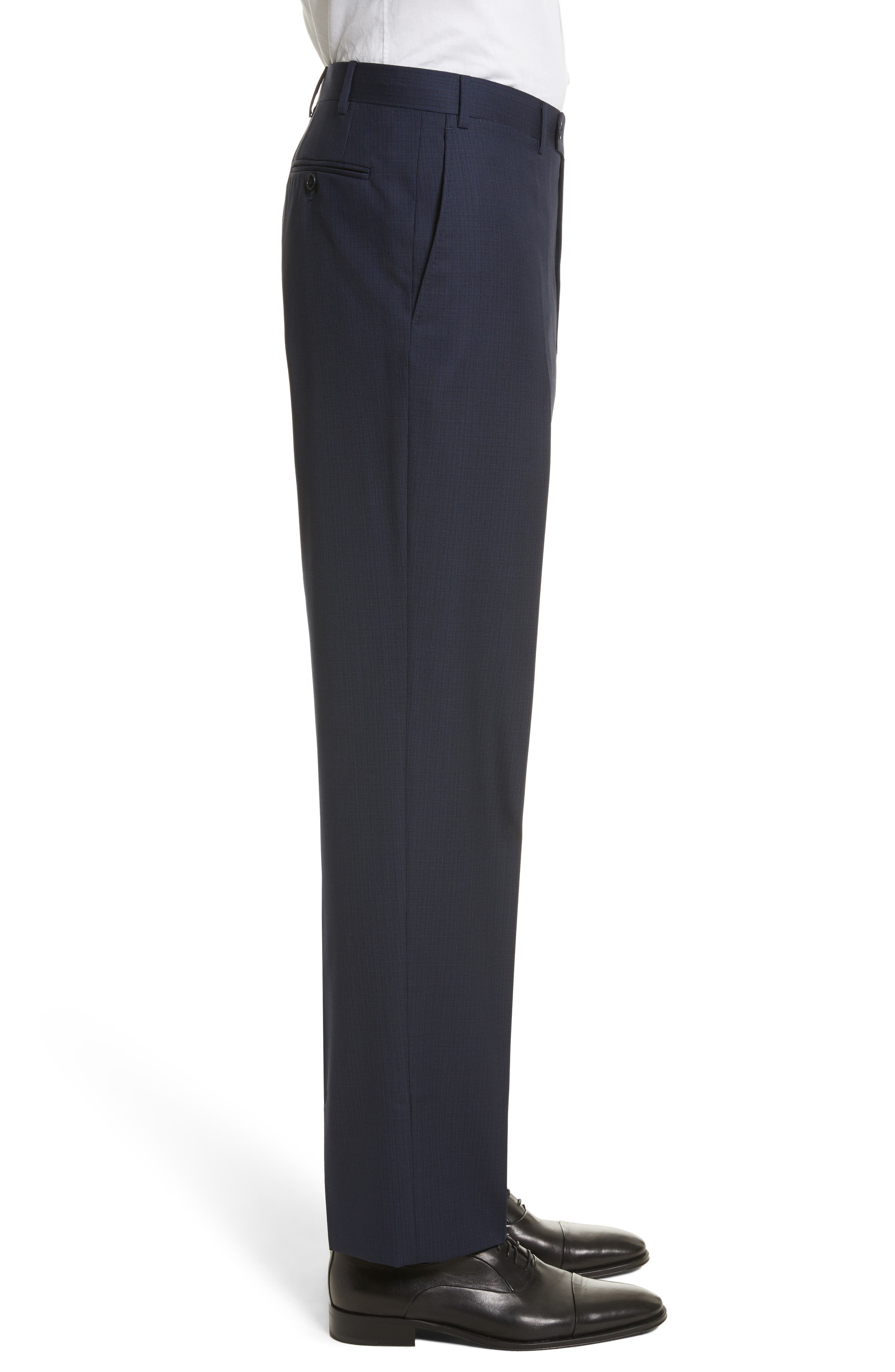 Flat Front Check Wool Trousers,                             Alternate thumbnail 4, color,